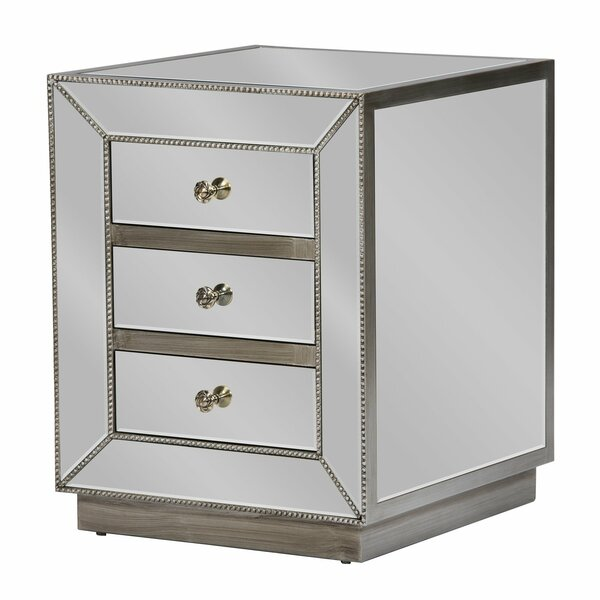 Hitchcock Mirrored 3 Drawer Nightstand by Rosdorf Park