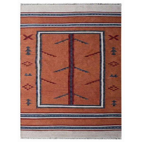 St Catherine Handmade Kilim Wool Orange/Blue Area Rug by Millwood Pines
