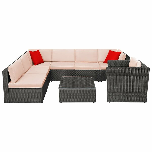 Jeffcoat 8 Piece Rattan Sectional Seating Group with Cushions (Set of 8) by Wrought Studio