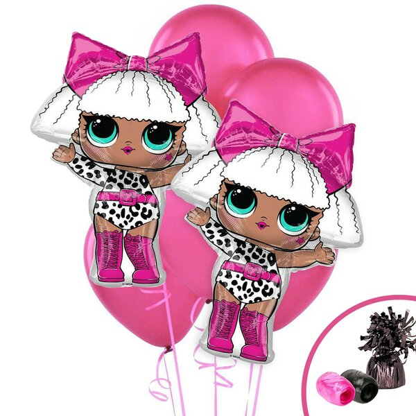 11 Piece LOL Surprise Diva Jumbo Foil Balloon Plastic Disposable Centerpiece Set [NA]