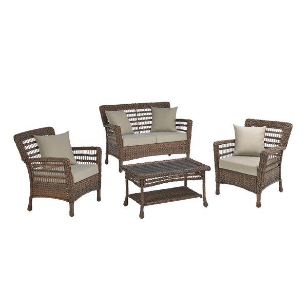 Danial Modern 4 Piece Rattan Sofa Seating Group with Cushions by Bay Isle Home