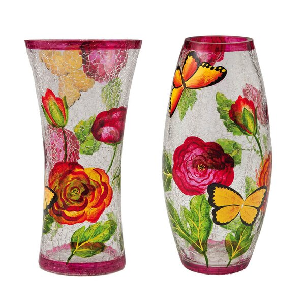 Wiliams Handpainted Glass 2 Piece Table Vase Set by Winston Porter