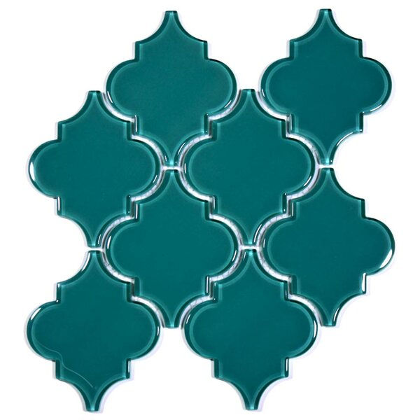 Water Jet 3.9 x 4.7 Glass Mosaic Tile in Dark Teal by Giorbello