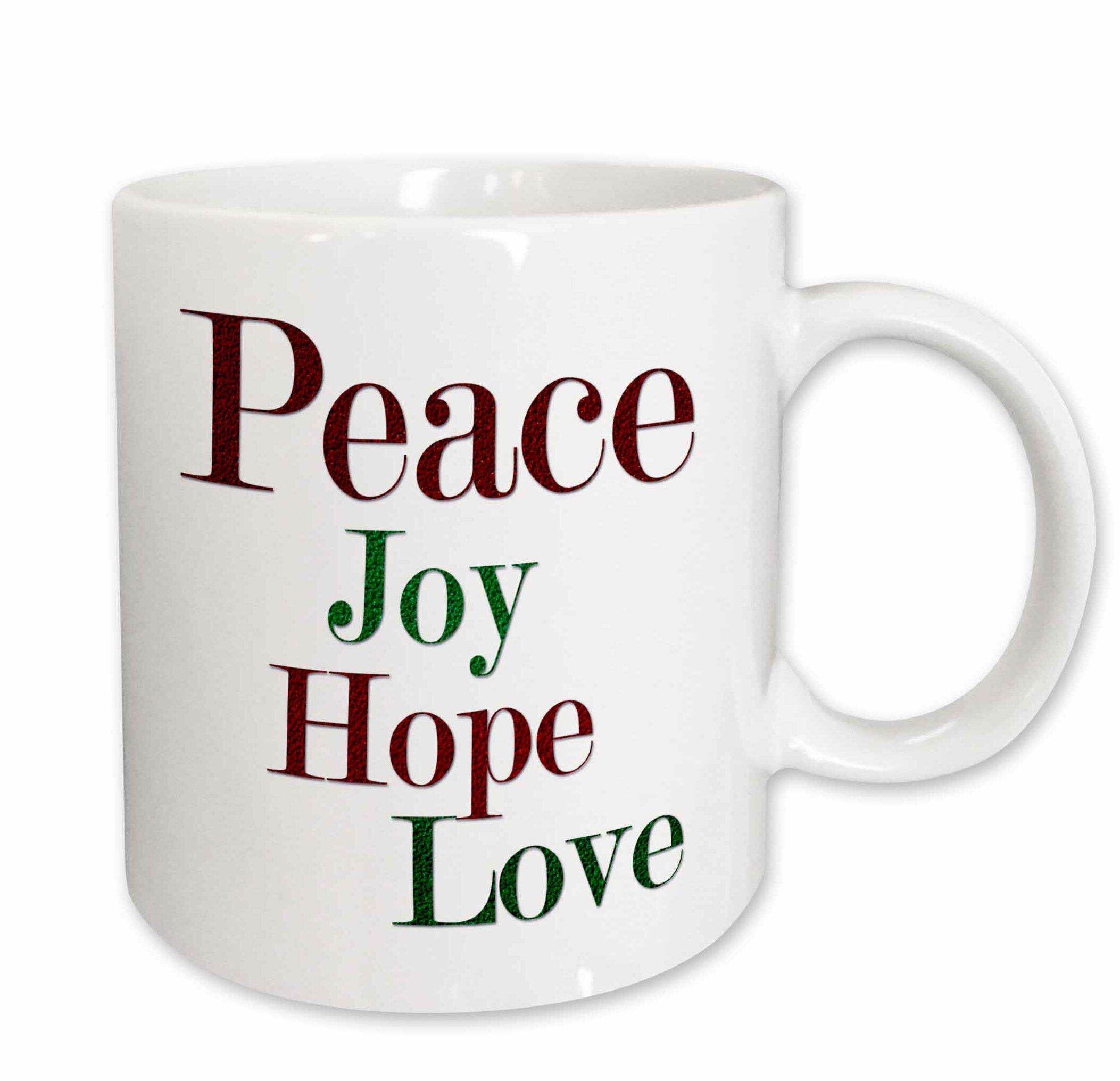 3drose Peace Joy Hope Love Words In And Green Glitter Effect Coffee Mug Wayfair