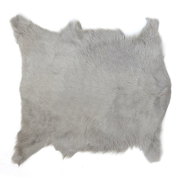 Losey Gray Faux Fur Area Rug by Union Rustic