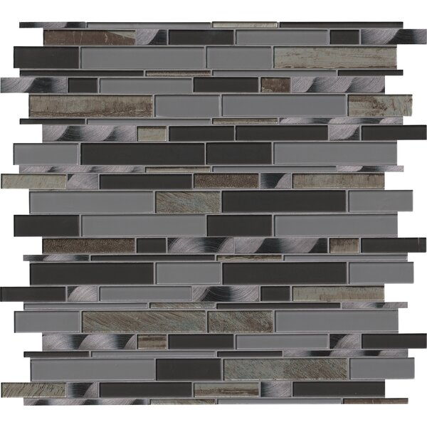 Metallica Interlocking Glass Mosaic Tile in Gray by MSI