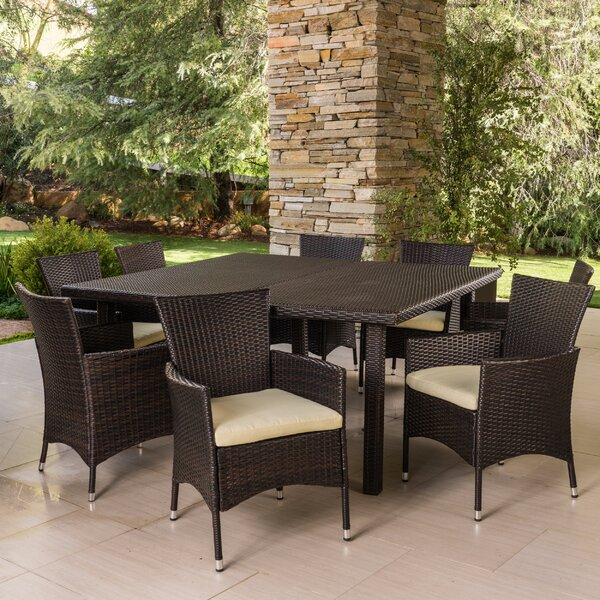 Eaddy 9 Piece Dining Set with Cushions by Latitude Run