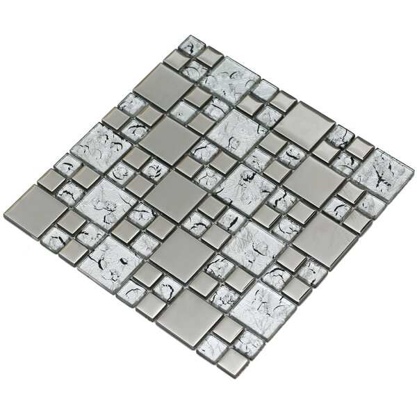Rousha 12 x 12 Glass Mosaic Tile in Silver by Mirrella