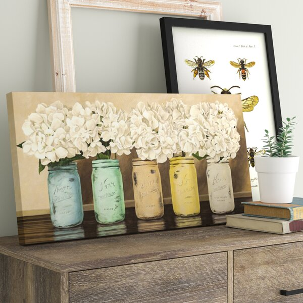 Hydrangeas In Mason Jars Painting Print On Wrapped Canvas By Laurel Foundry Modern Farmhouse.