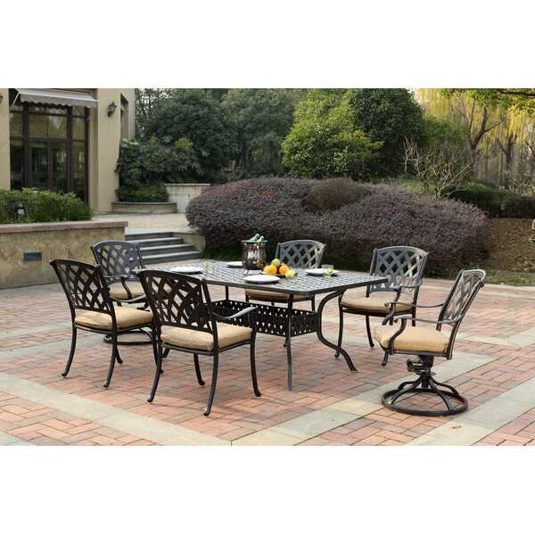 Campton 7 Piece Dining Set with Cushion by Fleur De Lis Living