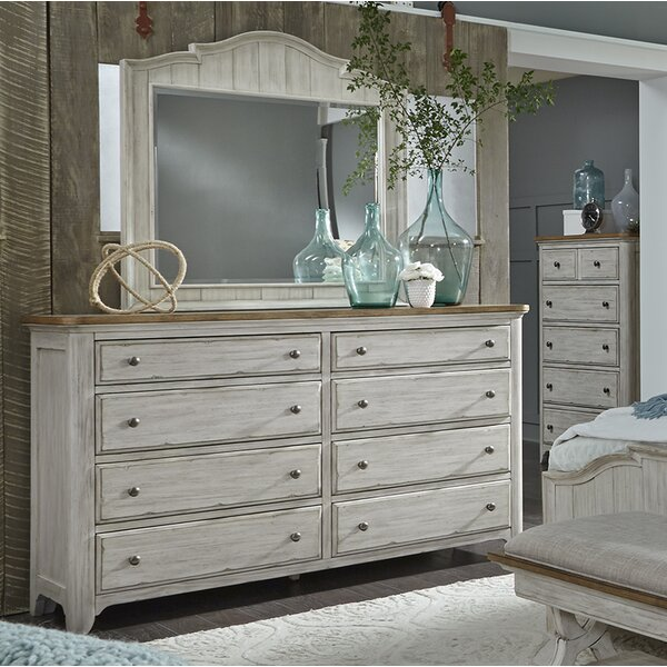 8 Drawer Double Dresser with Mirror by Feminine French Country