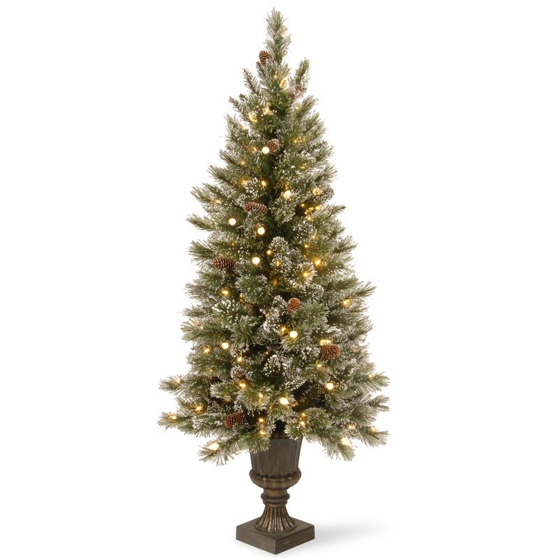 pine 5 green pine entrance artificial christmas tree with 150 soft white led lights with - Artificial Christmas Trees With Lights