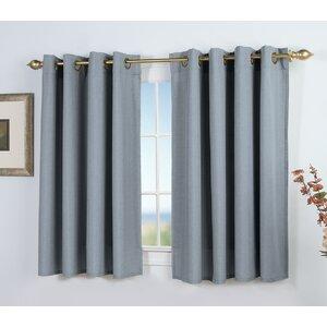 Saffold Short Solid Semi-Sheer Grommet Single Curtain Panel