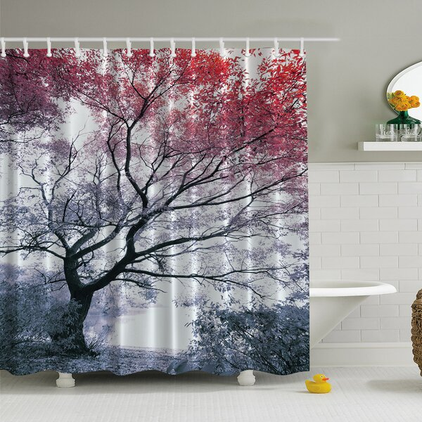 Lonely Tree Print Shower Curtain by Ambesonne