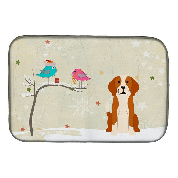 Christmas Presents Between Friends English Foxhound Dish Drying Mat by Caroline's Treasures
