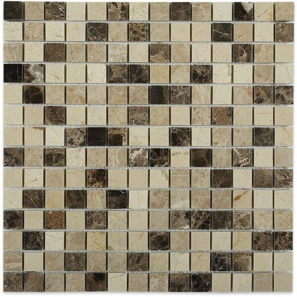 Woodland Blend Brick Joint 0.75 x 0.75 Marble Mosaic Tile in Crema Marfil/Light Emperador by Splashback Tile