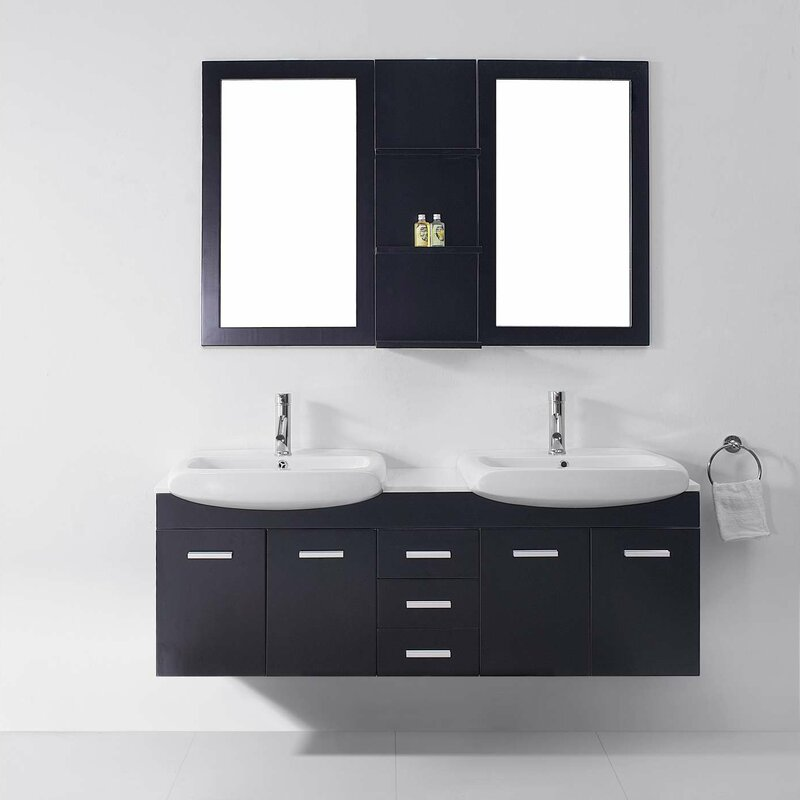 Virtu usa ultra modern series 59 double bathroom vanity set with white stone top and mirror for Ultra bathroom vanities burbank
