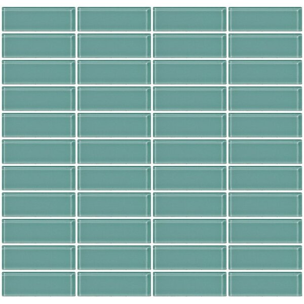 Stacked 1 x 3 Glass Subway Tile in Glossy Green by Susan Jablon