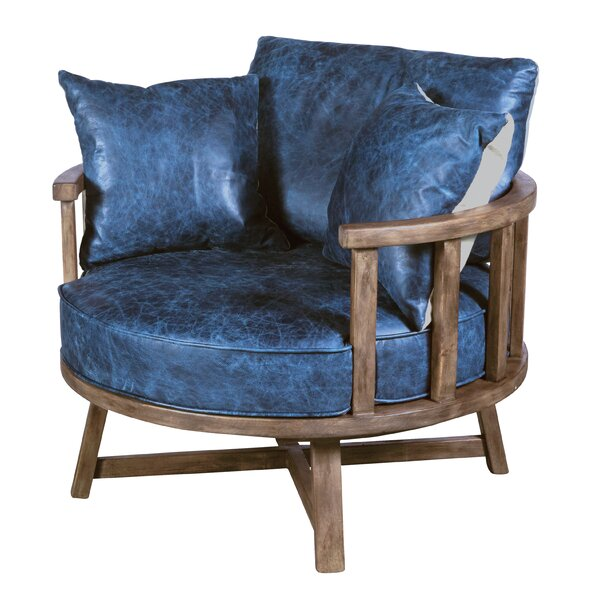 Enya Leather Swivel Club Chair By Loon Peak