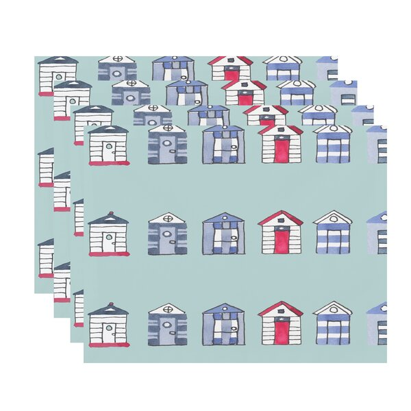 Harriet Multi Beach Hut Placemat (Set of 4) by Breakwater Bay