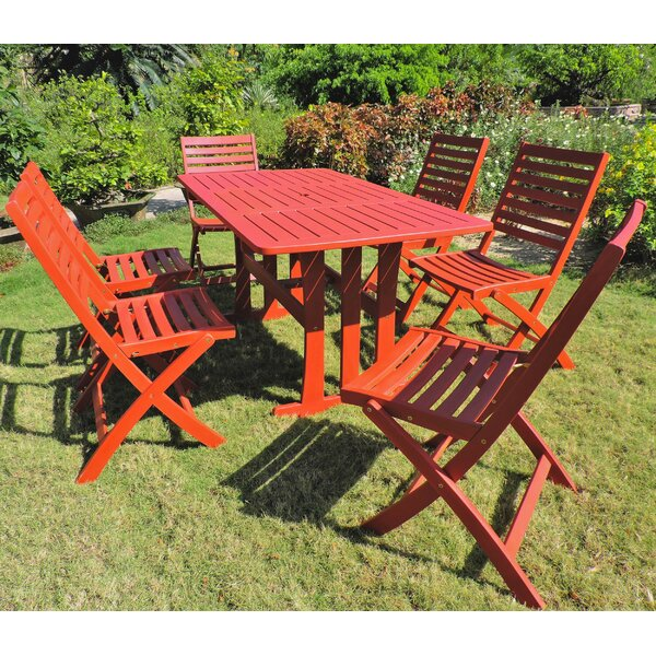 Palmquist Acacia 7 Piece Patio Dining Set by World Menagerie