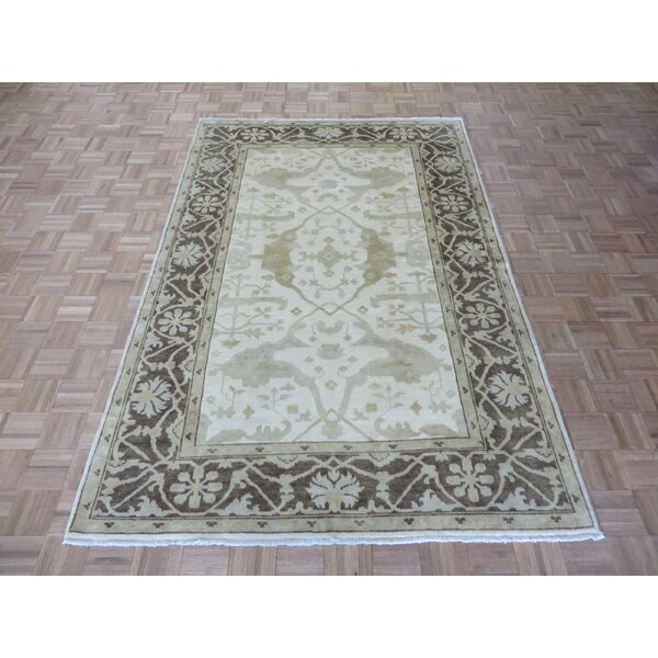 One-of-a-Kind Josephson Oushak Hand-Knotted Wool Ivory/Brown Area Rug by Canora Grey