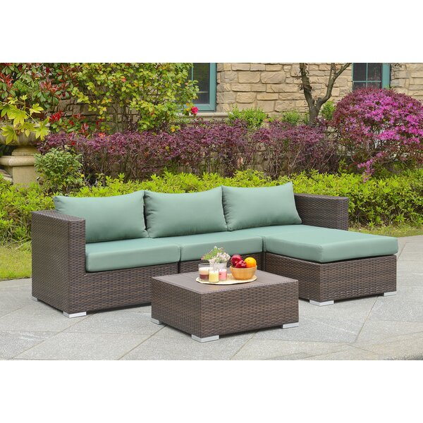 Asther 5 Piece Sectional Seating Group with Cushions by Beachcrest Home