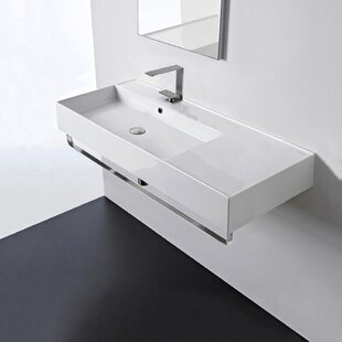 Ceramic 32'' Wall Mounted Bathroom Sink with Overflow ByScarabeo by Nameeks