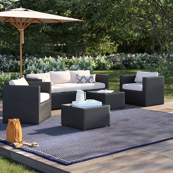 Alden 5 Piece Sofa Seating Group with Cushions by Hokku Designs
