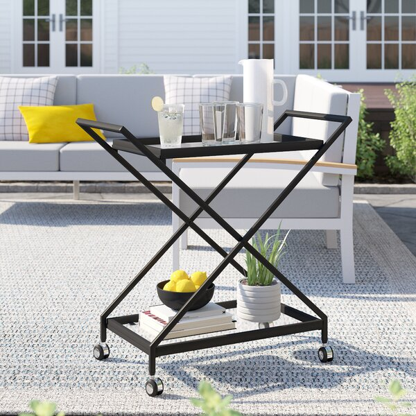 Poyen Outdoor Iron Bar Serving Cart by Zipcode Design
