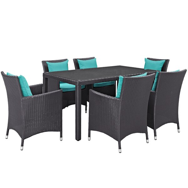 Brentwood Outdoor Patio 7 Piece Dining Set with Cushions by Sol 72 Outdoor