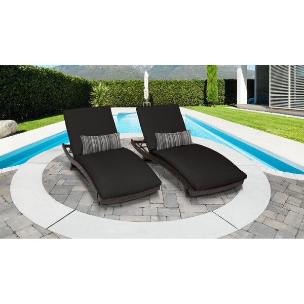 Medley Curved Chaise Lounge with Cushion (Set of 2) by Rosecliff Heights