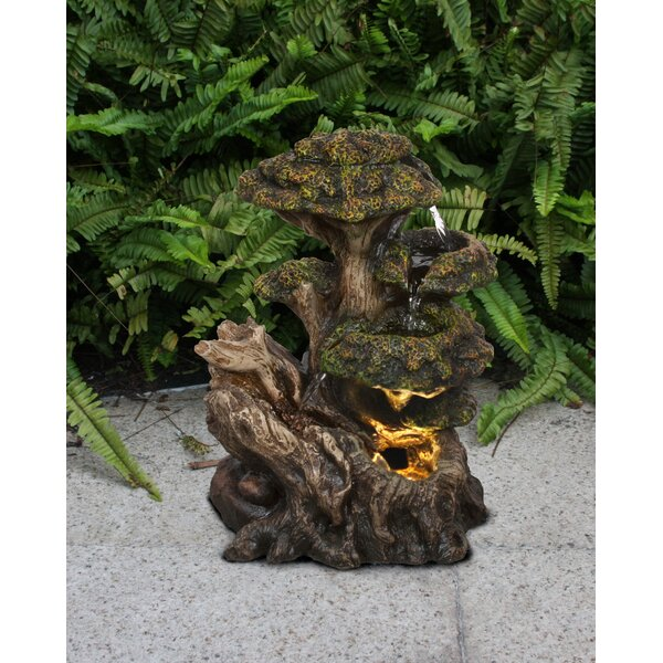Resin Multi Level Tree Trunk Fountain with Light by Hi-Line Gift Ltd.