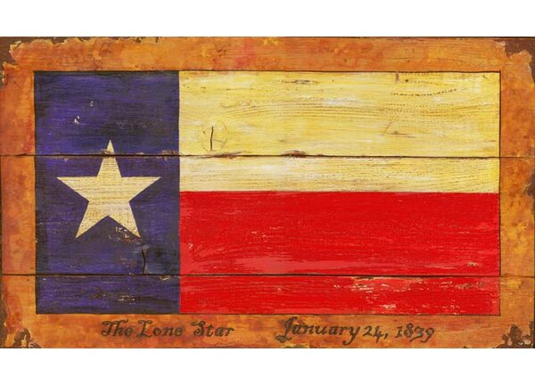 Texas Flag Painting Print Plaque by Millwood Pines