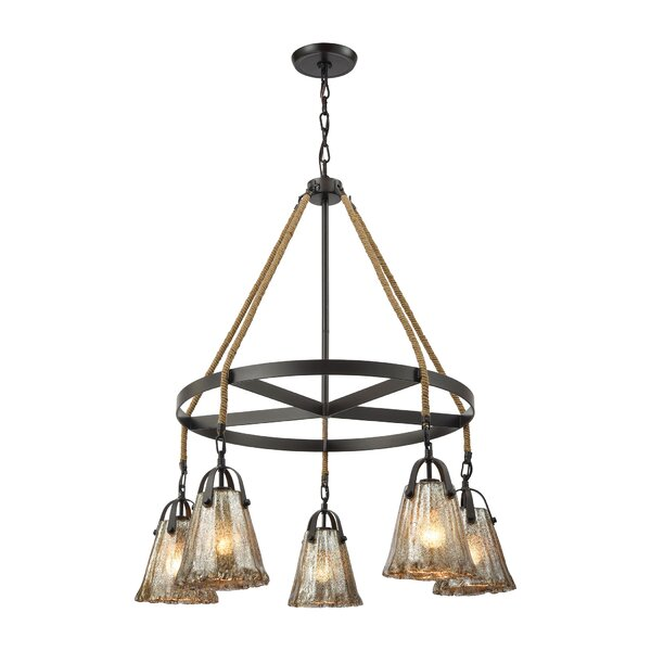 Marjane 5-Light Shaded Wagon Wheel Chandelier With Rope Accents By Bungalow Rose
