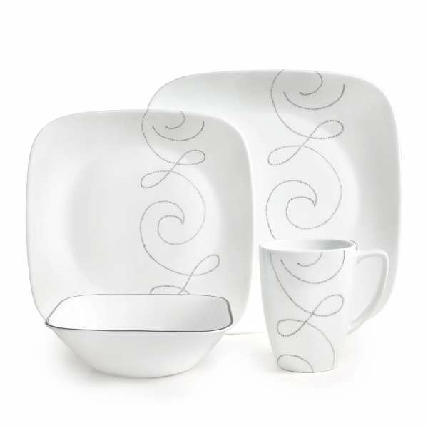 Square Endless Thread 16 Piece Dinnerware Set, Service for 4 by Corelle