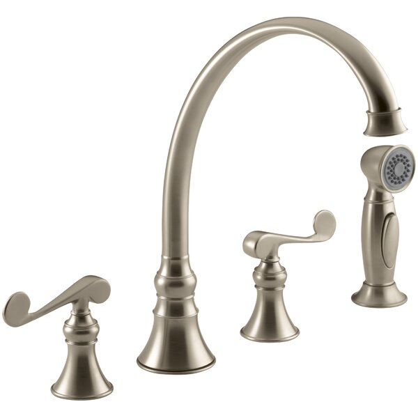 Revival 4-Hole Kitchen Sink Faucet with 9-3/16 Spout, Matching Finish Sidespray and Scroll Lever Handles by Kohler