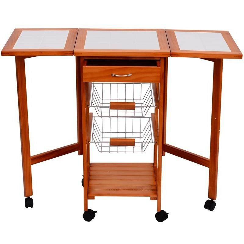 Attirant Kitchen Cart With Wood Top