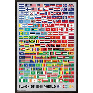 'Flags of the World by Color' Framed Graphic Art Poster by Frame USA