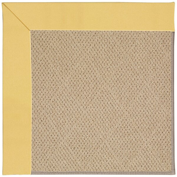 Lisle Machine Tufted Lemon and Beige Indoor/Outdoor Area Rug by Longshore Tides