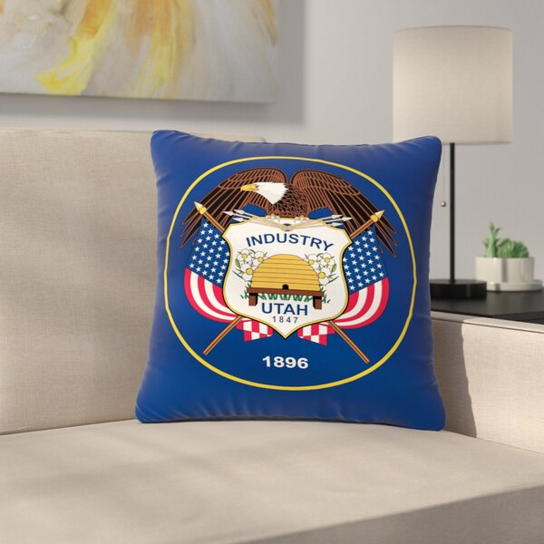Bruce Stanfield Utah State Flag Authentic Outdoor Throw Pillow by East Urban Home