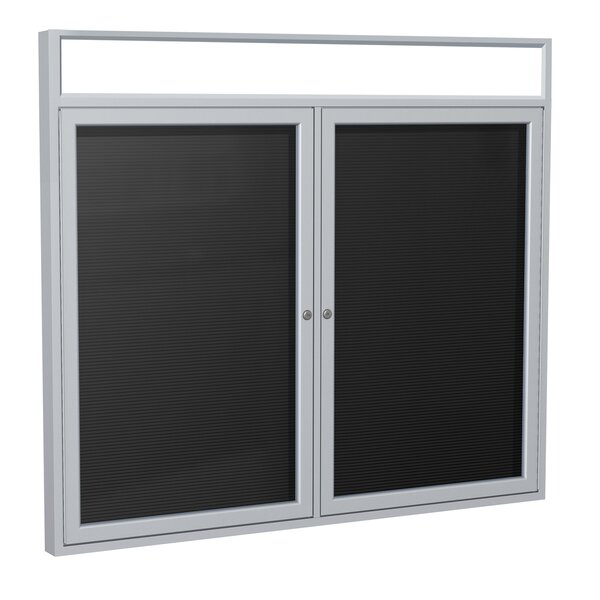 Ghent 2 Door Outdoor Enclosed Vinyl Letter Board with Satin Aluminum Illuminated Headliner Frame by Ghent