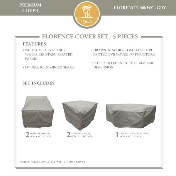 Forence 5 Piece Water Resistant Patio Furniture Cover Set by TK Classics