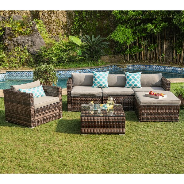 Ekstrom 6 Piece Rattan Sectional Seating Group with Cushions by Bay Isle Home
