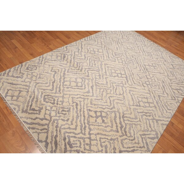 One-of-a-Kind Prudhomme Hand-Knotted Wool Beige/Gray Area Rug by Bloomsbury Market