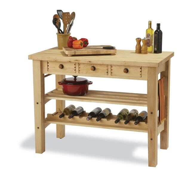 Arts and Crafts Kitchen Island with Butcher Block by Snow River