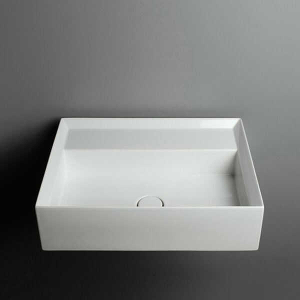 Cut Ceramic 21.3 Wall Mount Bathroom Sink with Overflow by WS Bath Collections