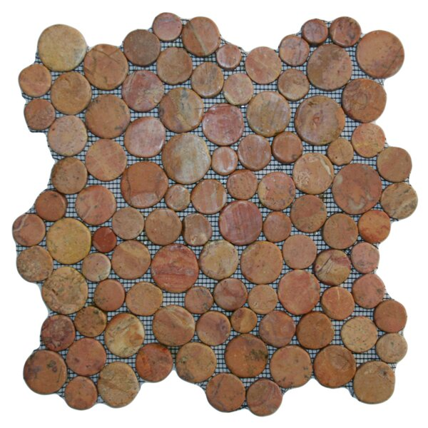 Buru Random Sized Natural Stone Mosaic Tile in Red by CNK Tile