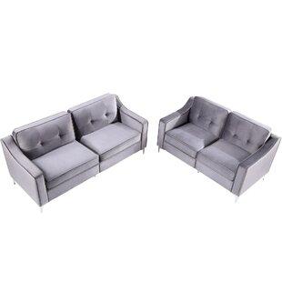 Oritz 2 Piece Velvet Living Room Set by Everly Quinn