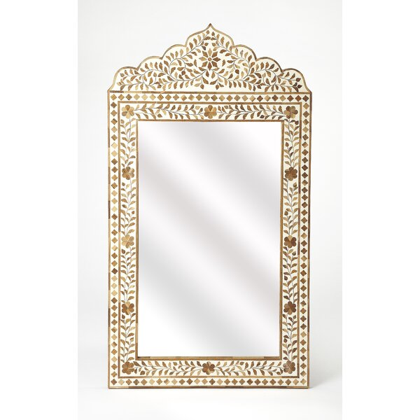 Sittard Wood and Bone Inlay Accent Mirror by Bungalow Rose